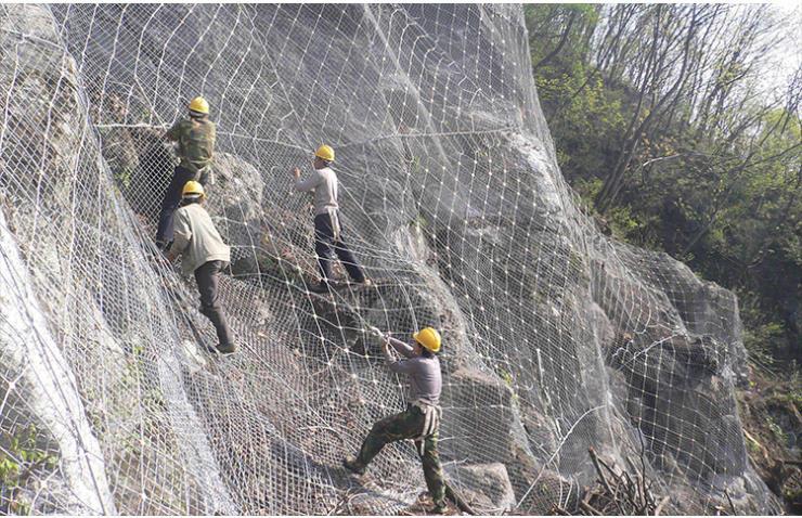 供应钢绳网D0/08/300主动菱形防护网